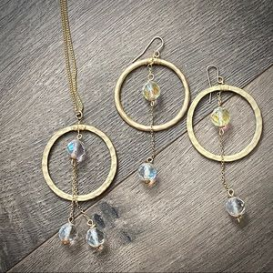 Oversized Circle Necklace Earring Set Crystal Drop